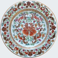 A rare Chinese famille rose plate decorated with a large peony. Yongzheng period.China. Porcelain. Decorated in the famille rose palette in the Chinese style, with a large peony encircled by foliages.