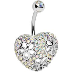 Aurora Cubic Zirconia Paved Floral Heart Belly Ring #bellyring #heart #rainbow $12.99