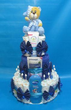 ♦♦Große Windeltorte für Mama und Baby in blau♦♦ von Geschenketorten-Gebhardt auf DaWanda.com