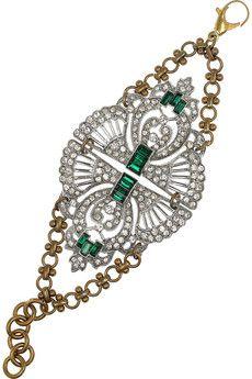 LULU FROST  Art Deco brass and crystal bracelet  $405