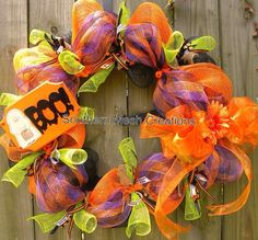 Browse unique items from SouthernMesh on Etsy, a global marketplace of handmade, vintage and creative goods. Etsy Wreaths, Wreaths And Garlands, Deco Mesh Wreaths, Fall Wreaths, Door Wreaths, Halloween Mesh Wreaths, Fall Halloween, Halloween Crafts, Halloween Ideas