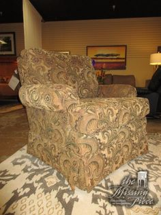 """Haverty's occasional chair in a warm toned, patterned upholstery. Ideal find for a more traditional style living room. Quite a comfortable chair. At posting, we have two of these. 37""""wide x 35""""deep x 38""""high."""