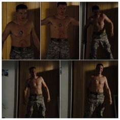 Collage of Five Photos of Jeremy Shirtless as Will James in The Hurt Locker