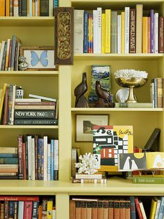 Update Your Bookcases  Bookcases don't have to pose a decorating dilemma. Spend a few hours organizing and arranging them to get the perfect look.