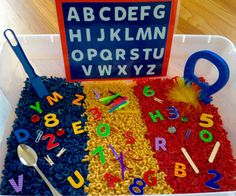 magnetic bin with magnetic letters