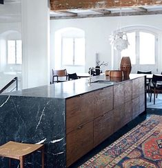 Kate Monckton - I like the idea of including modern design within a period property. The architectural slabs of marble that wrap around the wooden body of the kitchen island work well against the backdrop of the farmhouse interior. Interior Design Blogs, Interior Design Kitchen, Interior Design Inspiration, Design Ideas, Blog Design, Interior Work, Interior Colors, Design Concepts, Interior Paint