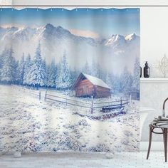 Old Farmhouse Rustic Shower Curtain – joocarhome Rustic Shower Curtains, Shower Curtain Sets, Winter Shower, Curtain Store, Bathroom Decor Sets, Winter Table, Square Tables, Table Covers, Table Linens