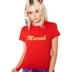 Local Heroes Mariah Tee ($50) ❤ liked on Polyvore featuring tops, t-shirts, round neck t shirts, short sleeve tops, red short sleeve top, short sleeve t shirt and red tee