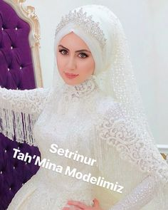 Hayırlı Nurlu Sabahlar 💕💕💕 Muslim Wedding Gown, Hijabi Wedding, Muslimah Wedding Dress, Muslim Wedding Dresses, Elegant Wedding Hair, Hijab Bride, Muslim Brides, Wedding Gowns, African Wedding Attire
