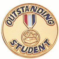 """Outstanding Student Pin TBR314C by Terra Sancta Guild. $3.95. 7/8"""" Gold Plated Outstanding Student Pin with Red, White & Blue Enameling. Comes in an attractive acrylic gift box. Please call for quantity pricing for 10+ units"""