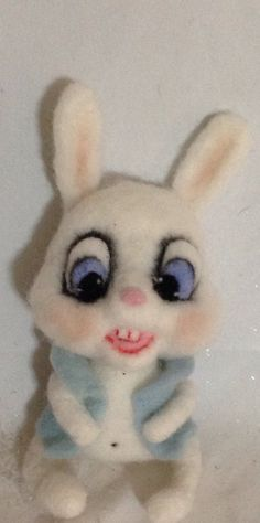 Sitting White Bunny Rabbit ooak by papermoongallery on Etsy