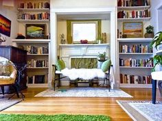 Use rugs to separate one room into smaller spaces.   19 Foolproof Ways To Make A Small Space Feel So Much Bigger