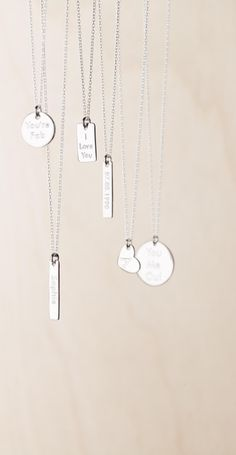 Our new range of sterling silver necklaces can be personalised with your own message. What an adorable unusual gift! Tiny Necklace, Arrow Necklace, Nameplate Necklace, Gold And Silver Bracelets, Sterling Silver Necklaces, Diy Jewelry, Jewelery, Unusual Gifts, Ring Bracelet