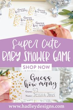 If you want a fun and memorable party game, these white and gold dot baby shower guessing game jar cards are for you; elegant confetti guess how many candy in the jar cards are girl baby shower decorations for girl baby gender reveal party supplies kit; shimmer shiny metallic guess how many bridal shower games for guests, baby shower games to play, woman guess how many kisses game, gender reveal games for party, man boy baby shower ideas, gender neutral kids birthday party games for kids Cute Baby Shower Games, Baby Shower Guessing Game, Bridal Shower Games, Baby Boy Shower, Gender Reveal Games, Gender Reveal Party Supplies, Baby Gender Reveal Party, Baby Sprinkle Games, Baby Shower Decorations Neutral
