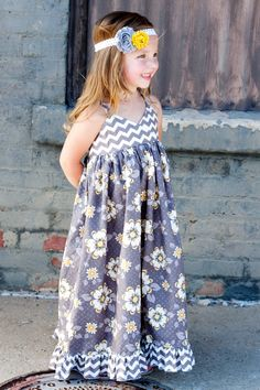 Girl Maxi Dress Modern Kids Clothing Custom Girls by thedottedduck