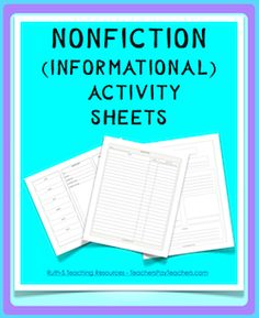 FREE Nonfiction (Informational) student worksheets. Two new pages have been added! Use with any nonfiction text or articles.