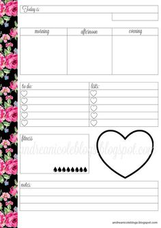 Andrea Nicole: Free Daily Planner Insert