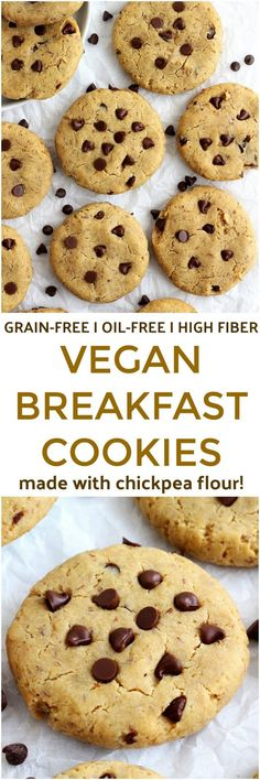 Vegan Chickpea Flour Breakfast Cookies - These grain-free Vegan Chickpea Flour Breakfast Cookies are seriously addicting! Soft yet chewy and totally customizable these cookies can also double as a healthy treat. Vegan Breakfast Recipes, Delicious Vegan Recipes, Healthy Dessert Recipes, Healthy Treats, Vegan Desserts, Cookie Recipes, Yummy Food, Oatmeal Recipes, Cookie Ideas