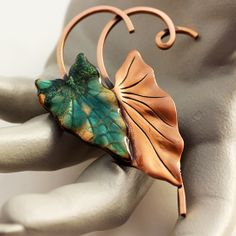 Matisse/Renior Enameled and Copper Leaf Brooch