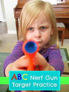 A fun game using Nerf guns to teach your preschooler ABC's, colors, and shapes.  Free printable!