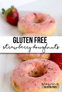 A simply amazing Gluten Free Strawberry Doughnuts recipe! A perfect breakfast or dessert!