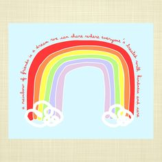 A Rainbow of Friends  Kids art Kids wall art Quote by RosyHuesArt, $12.00