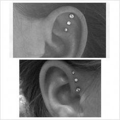 I really want a triple piercing of some kind. I really want a triple piercing of some kind. Piercing Tattoo, Piercing Implant, Body Piercing, Triple Piercing, Triple Helix, Cute Ear Piercings, Unique Piercings, Cartilage Piercings, Skin Art