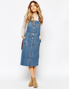 Image 1 of ASOS Denim Midi Pinafore Dress With Raw Hem
