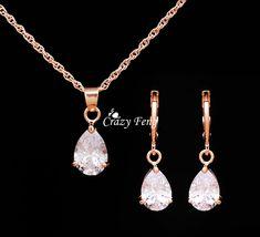 Envío Gratis Joyería De La Boda Fija el Collar de moda Pendientes de Oro Rosa Plateado Mujeres Corazón Colgante Collar de Cristal de la CZ