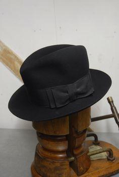129ef9f03311e Vintage 40 s WW2 Black Felt Felt Fedora Trilby German Austrian Hat EU 54 UK  6 5 8 US 6 3 4