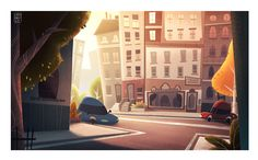 ArtStation - Cartoon city graphic background, Massimo Di Leo