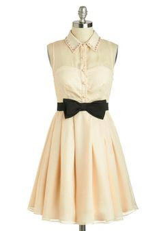 Jewel of the Gala Dress - Cream, Black, Solid, Bows, Rhinestones, Party, A-line, Sleeveless, Collared, Mid-length, Pearls, Pleats