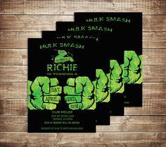 Incredible Hulk Birthday Invitation - Boys Birthday Invite - The Hulk Birthday Invitation-Hulk-Green and Black Invitation-Monster Invitation by PaperPrinceParties on Etsy https://www.etsy.com/listing/270998365/incredible-hulk-birthday-invitation-boys