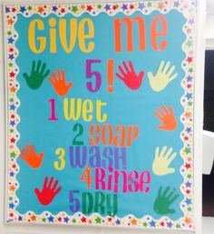 Hand washing bulletin board for my school. Health Bulletin Boards, Nurse Bulletin Board, Office Bulletin Boards, Summer Bulletin Boards, Classroom Board, Classroom Decor, Preschool Classroom, Preschool Activities, Toddler Classroom