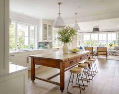 Farmhouse Kitchen Island, Modern Farmhouse Kitchens, Home Kitchens, Kitchen Islands, Small Kitchens, Antique Kitchen Island, Kitchen Island Furniture, Farmhouse Sinks, Farmhouse Ideas