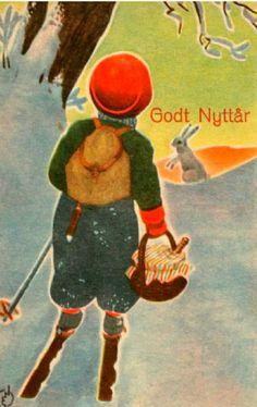 Nyttårskort Erling Nielsen 1940-tallet Norsk arbeide