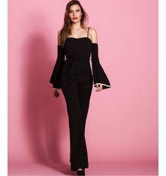 Ολόσωμη Φόρμα Καμπάνα Έξωμη με Ραντάκια  και Φαρδιά Μανίκια  - Μαύρο Peplum Dress, Jumpsuit, Dresses, Fashion, Overalls, Vestidos, Moda, Monkeys, Fashion Styles