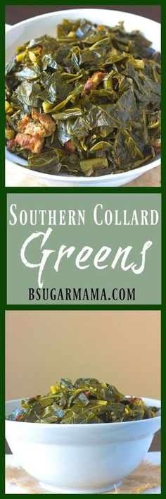Easy Southern Collard Greens recipe is perfect side dish for the holidays. This is an awesome southern dish for Thanksgiving or Christmas dinner. Southern Collard Greens, Collard Greens Recipe, Thanksgiving Recipes, Holiday Recipes, Thanksgiving Dinners, Thanksgiving Holiday, Christmas Holiday, Southern Recipes, Southern Meals