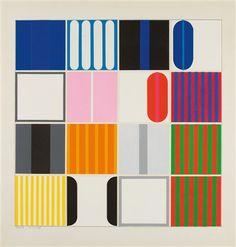 16 Quadrate über blau, weiß und rot by Heinz Kreutz