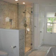 Bathroom pony wall shower glass half design ideas pictures on nice 19 half wall shower glass Half Walls, Half Wall Shower, Master Shower, Bathrooms Remodel, Bathroom Decor, Glass Shower Wall, Traditional Bathroom, Master Bathroom Shower