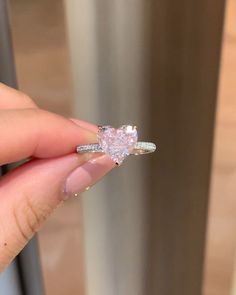 9 Fancy Intense Pink Diamond Rings You Might Like — Select Jewelry Cute Promise Rings, Cute Rings, Pretty Rings, Beautiful Rings, Silver Promise Rings, Sterling Silver Diamond Rings, Diamond Promise Rings, Gold And Silver Rings, Heart Shaped Diamond Ring