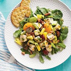 For extra fiber and a boost of antioxidants, serve Mixed Fruit Chicken Salad over dark greens.
