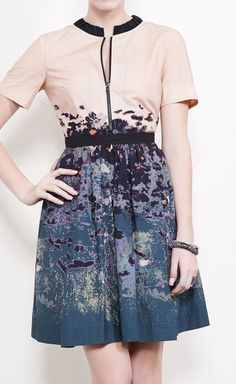 Cacharel Light Pink, Navy, Dark Green And Black Multicolored Dress // want.
