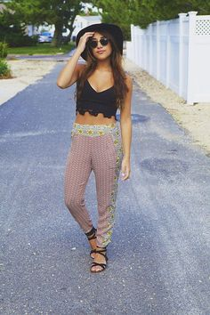 Mixed Print Boho Pants with Black Midriff and Hat. Summer Fashion. Summer Outfit
