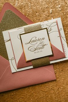LAUREN Suite Glitter Package, gold, dusty rose, pink, letterpress wedding invitations, elegant wedding invitations, glitter wedding invitations