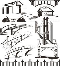 Different bridge clip art in black and white royalty-free stock vector art Free Vector Art, Bridge Drawing, Bridge Logo, Burning Bridges, Architecture Graphics, Covered Bridges, Printable Art, Printables, Backgrounds