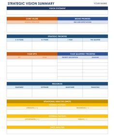 One Page Strategic Plan Excel Template Bit Of This That - It strategic plan template