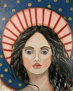 Folk Art Angel Portrait PRINT of Painting by Lore by lore12, $15.00