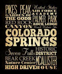 Colorado Springs, Colorado,Typography Art Canvas/ Bus/Transit/Subway Roll Art 20X24-Colorado Springs' Attractions WallArt Decoration-LHA-21. $194.95, via Etsy.