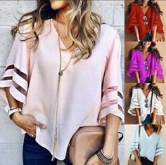 01e997815a Summer Fashion V Neck Women Casual Sexy Loose Half Sleeve Lace Blouse Tops  Shirt Loose Shirts